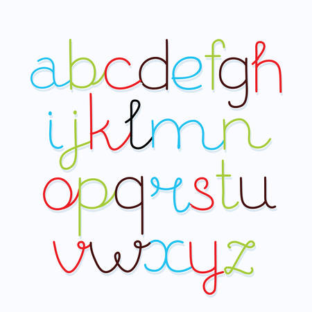 Hand drawn vector alphabet lower case font. Isolated letters in different color for your lettering, print, design