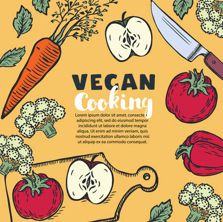 Vector Vegetarian and vegan food recipes banner with illustration of and chopped vegetables, copyspace at center in vintage colors. Fresh brocolli, tomato, paprika, apple, brocolli, basil, carrot, knife, cutting board 向量圖像