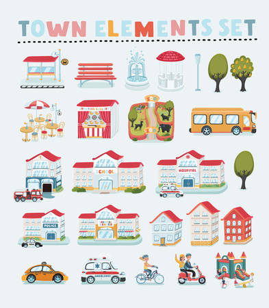 Vector set of cartoon town map creator. House constructor. House, cafe, shop, infrastructure, transport, village and countryside element. Isolated objects on white background