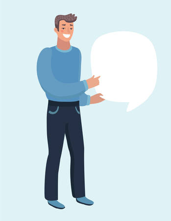 Vector cartoon illustration of man holding speech bubble in hands. Point to place to Says something important. Character on white isolated background