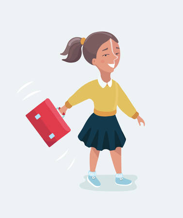 Vector cartoon funny cute illustration of happy schoolgirl with a backpack going to school Illustration