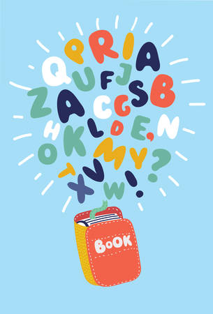 Vector cartoon cute funny colorful illustration of Book with flying letters, Education template design element.