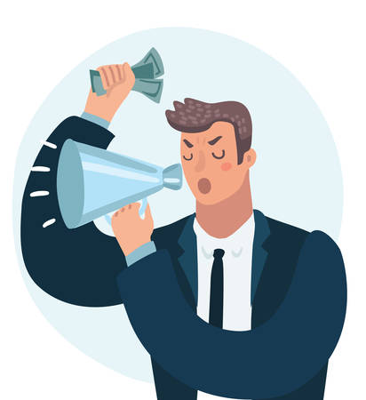 Vector cartoon illustration of angry Businessman shout at megaphone. Wicked, authority, despotic boss, power, money. Close up view