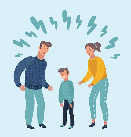 Vector cartoon illustration of little sad crying boy, cursing his beloved parents. Family quarrel. Angry parents. Wrong education, psychology Stock Illustratie