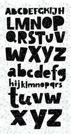 Vector cartoon Grunge full alphabet in black and white colors with messy texture for your design, posters and lettering. Latin capital uppercase letters and lowercase set.  イラスト・ベクター素材