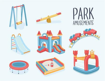 Vectorbeeldverhaalreeks elementen van kinderenspeelplaats. Schommels, zandbak, zandbak, glijbaan, uitsmijterkasteel, trampoline, achtbaan, wip. Illustratie met geïsoleerde elementen. Park-amusements.