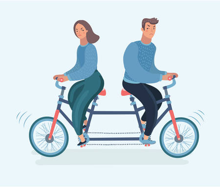 Vector cartoon illustration of young couple. Woman and man ride tandem bicycle in different directions. Concept of disagreement, misunderstanding, separation, the crisis in relationship Illustration