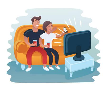 Ilustracja kreskówka wektor para oglądając retro telewizor. Mężczyzna i kobieta odpoczywają na sofie
