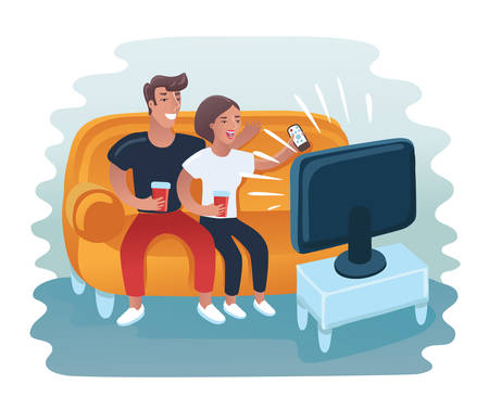 Vector cartoon illustration of couple watching retro tv set. Man and woman take rest on the sofa