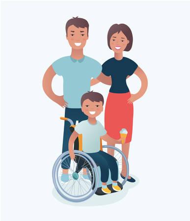 Vector el ejemplo de la familia feliz con concepto de los niños discapacitados en aislado en el fondo blanco. Padre, madre e hijo en sillas de ruedas parados juntos.