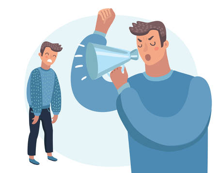 Vector cartoon illustration of Father scolds his son. Humans character on white isolated background. Angry parent. Wrong education, psychology.