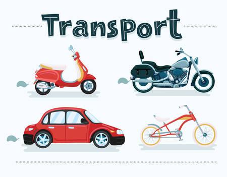 Ensemble de vecteur de dessin animé de véhicule de transport différent. Vélos, scooter, voiture, moto, scooter, moto Vecteurs