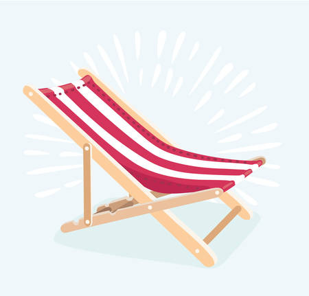 Vector illustration of beach chair illustration for summer vacation and travel concept. Isolated sun loungers.
