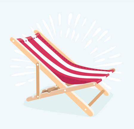 Vector l'illustrazione dell'illustrazione della sedia di spiaggia per le vacanze estive e viaggi il concetto. Lettini isolati.