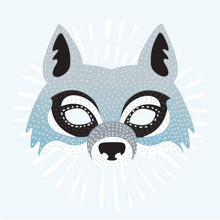 Vector illustration of mask of the cartoon childish Wolf isolated. New Year or for festivals, holiday. Illustration