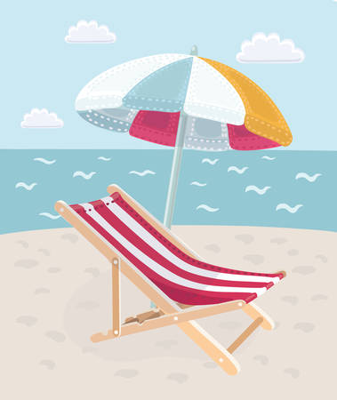 Vector cartoon illustration of Summer vacation on the beach. Image loungers with an umbrella on a tropical sea in the hot season.