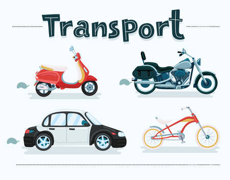 Vector cartoon set of different transport vehicle set. Bicycles, scooter, car, motorcycle, scooter, motorcycle Vectores