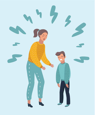 Vector cartoon illustration of angry Mom shouting at her son. Angry Mother yells at Little Sad Kid.
