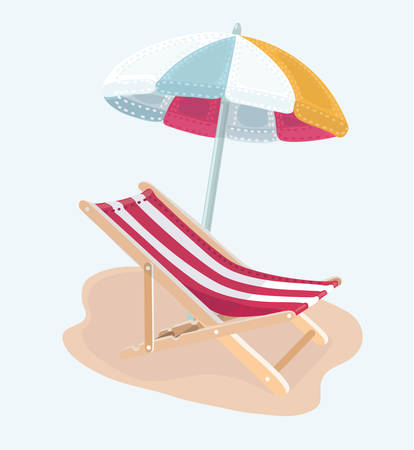 Vector cartoon isolated illustration of Chair and beach umbrella vector Illustration