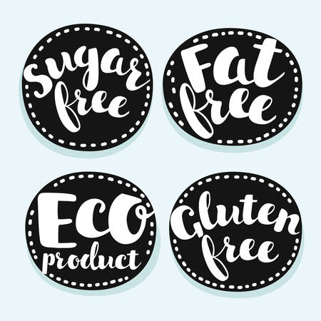 Vector set of labels, badges and stickers on organic, natural and healthy food. Hand drawn lettering on black element. Sugar, fat, gluten free, eco product. Vectores