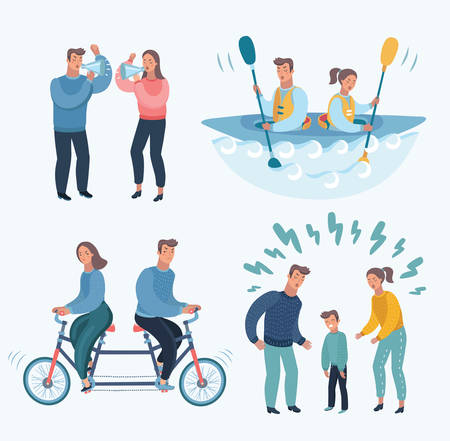 Vector cartoon illustration set of People Fighting And Quarrelling Making A Loud Public Scandal. Stock Vector - 92433175