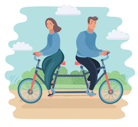 Vector cartoon illustration oConflict of interest. Family conflict concept. Couple ride on tandem to opposite direction.