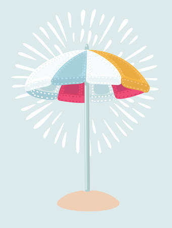 Vector cartoon illustration Beach Umbrella in red white, blue, yellow colors. The symbol of a holiday by the sea. Stock Illustratie
