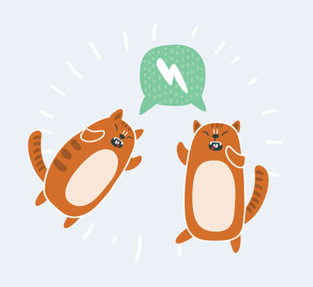 Vector cartoon illustration of Crazy funny struggle red kawaii cats. Speech bubble.