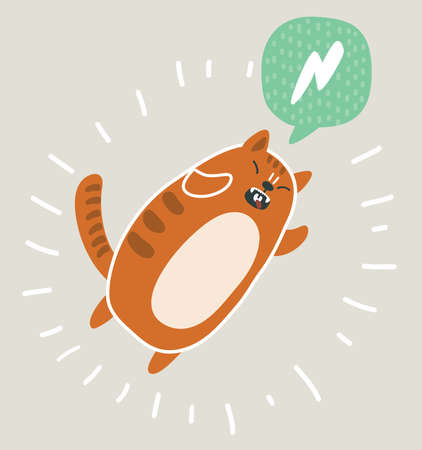 Vector cartoon illustration of cute kawai and funny red cat jumping. Bubble speech. Stock Photo