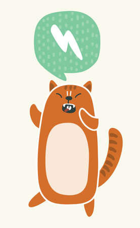 Vector cartoon cute funny illustration of angry kawaii grumpy red cat . Kitten on isolated background. Speech bubble Stock Photo