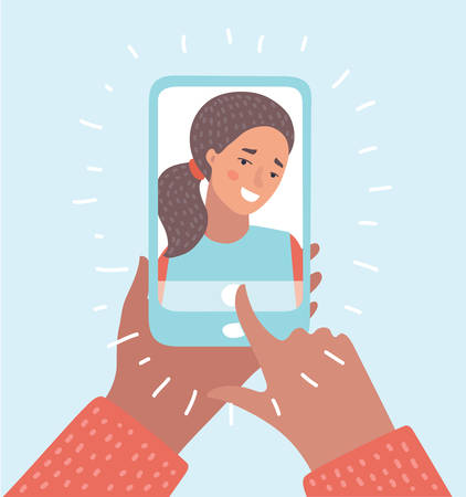 Vector cartoon illustration of woman taking selfie photo on smartphone.  イラスト・ベクター素材