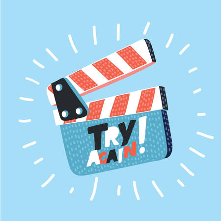 Vector cartoon illustration of movie clapper board isolated on blue background.