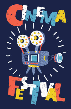 Vector funny Movie and film vintage poster background. Cartoon illustration of retro video camera. Graphic design element template can be used of backdrop, brochure, flyer, card. Modern colorful style concept