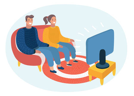 Vector cartoon illustration of happy couple watching TV. Audience, program, broadcast, television. Funny characters on isolated background.  イラスト・ベクター素材