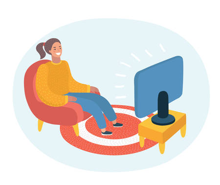 Vector cartoon illustration of happy woman watching television armchair and sitting in chair.