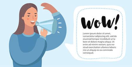 Ilustración divertida de la historieta de Vecot de la mujer con el megáfono. Mujer hacer anuncio con altavoz. Banner horizontal para agregar con bubblespeech.