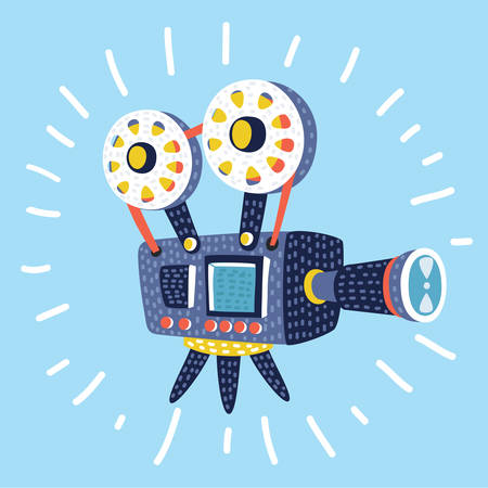 Vector cartoon funny illustration of Retro cinema icon