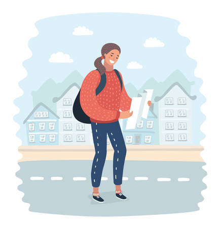 Vector cartoon illustration of a girl with backpack stand on a streets and looks at a map of the city. Funny happy female characters on city landscape background.