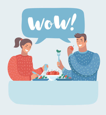 Vector cartoon illustration of Romantic couple sitting in cafe and taking lunch. Man and woman in vegetarian restaurant. Funny human characters.