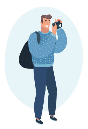 Vector cartoon illustration of happy smiling young man taking photo with digital camera side view.