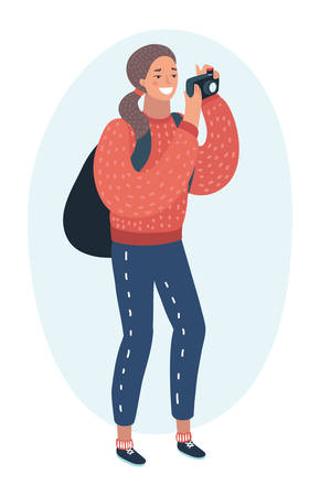 Vector cartoon funny illustration of active tourist. Young woman with backpack taking photo using camera. Colorful character on white isolated background.