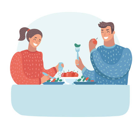 Vector cartoon illustration of husband and wife having dinner at the table. Family. Vegetarianism.