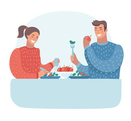 Vector a ilustração dos desenhos animados do marido e da esposa que têm o jantar na tabela. Família. Vegetarianismo.