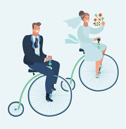 Vector cartoon illustration of wedding invitation card with couple on retro vintage bike. Groom and Bride on Penny farthing bicycle. Funny human characters on isolated background. Illustration