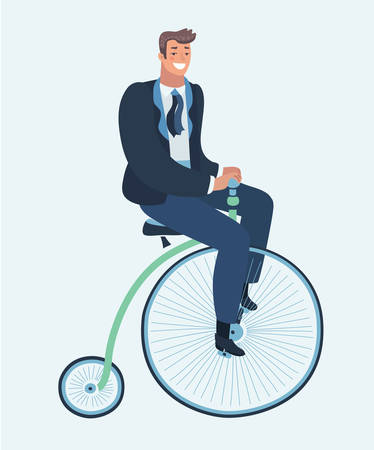 Vector cartoon funny illustration of groom on retro vintage old bicycle vector illustration. Funny happy male character on Penny farthing bicycle