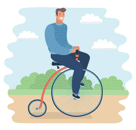 Vector cartoon illustration of man riding a penny-farthing bicycle in a park with. Vector cartoon funny illustration of modern guy on retro vintage old bicycle vector illustration. Funny happy male character on Penny farthing bicycle on nature landskape. Stock Illustratie