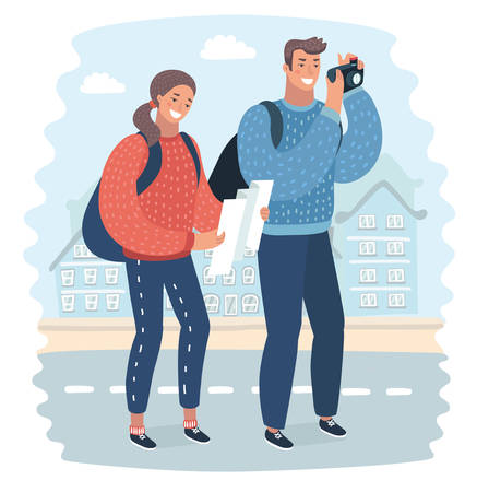 Vector cartoon illustration oftwo young tourists with backpacks, tourist map and camera. Sightseeing City. Funny human characters on city landscape background. Man taking photo, womna look at the map.