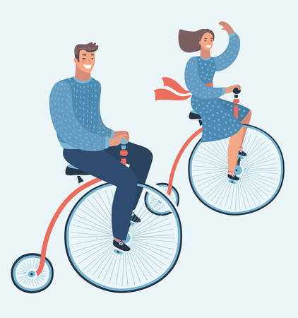 Vector cartoon funny illustration of couple ride on vintage bike. Happy young man and woman characters couple riding Penny farthing bicycle isolated. Young hipsters couple riding on bike laughing happily.