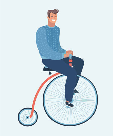 Vector cartoon funny illustration of modern guy on retro vintage old bicycle vector illustration. Funny happy male character on Penny farthing bicycle on white isolated background.
