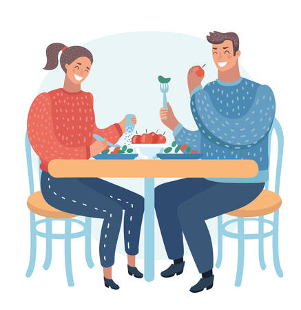 Vector cartoon illustration of couple having a dinner in street cafe. Healthy food. Funny human characters on isolated background.